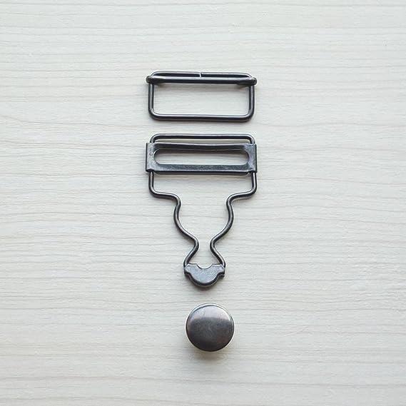 Hemline Bib /& Brace Set Silver Nickel Bronze 40mm Button Clip Fastener H468