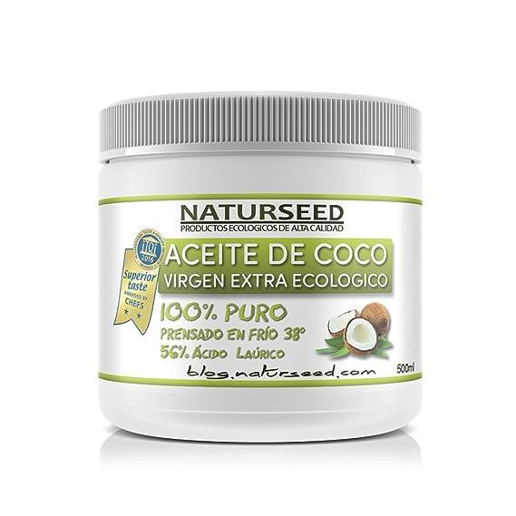 Naturseed - Aceite de Coco Ecológico Virgen Extra 500 ml - Envase HDPE - Para Comer, Hidratante de la piel, Del Pelo, Para Bebes, Mascotas, Masajes - ...