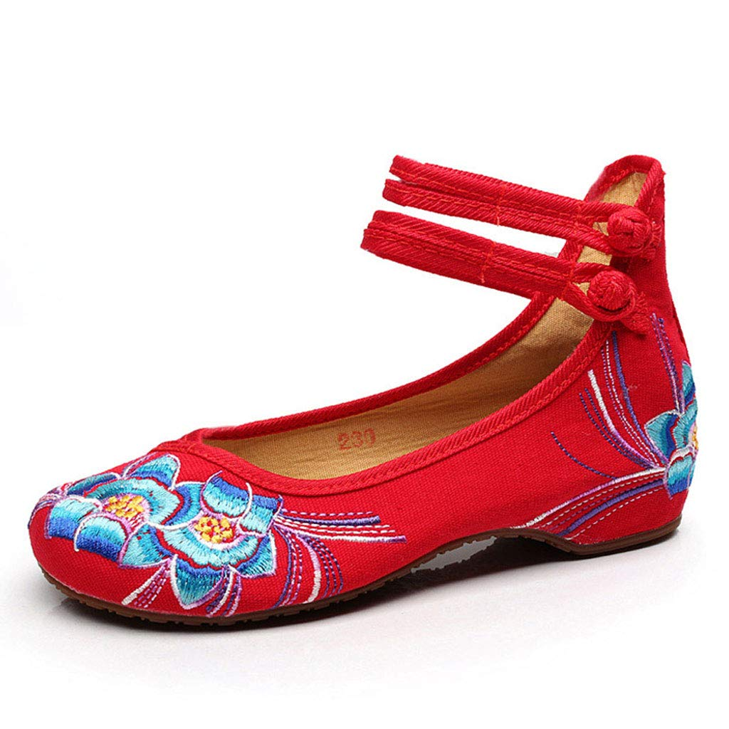 XHX Chaussures Plates pour Chaussures Femmes Chaussures National Wind Red, Chaussures Casual Brodées Rouges 3cm Chaussures À Talons Bas Chaussures Casual (Couleur : Red, Taille : 34) Red c990d7f - piero.space