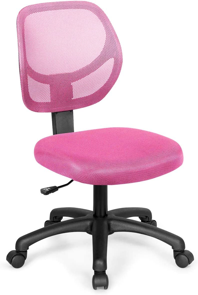 Giantex Low-Back Computer Desk Chair, Swivel Armless Mesh Task Office Chair Adjustable Home Children Study Chair w/Adjustable Height & Lumbar Support (Pink)