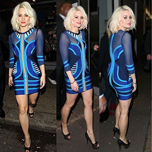 Patchwork Bandage Hlbandage Long Sleeve Mesh Azul Tribal Dress qxwUaAwF