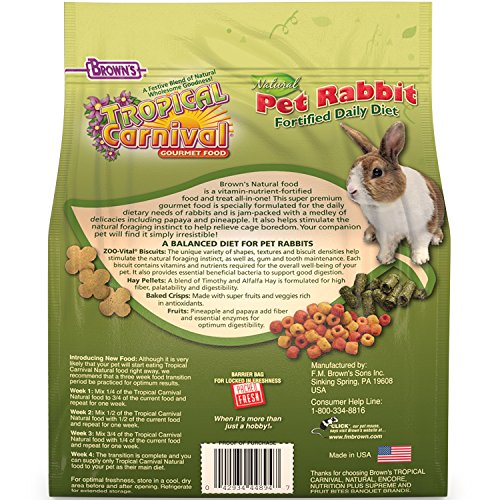Product image of F.M. Brown'S Tropical Carnival Natural Rabbit Food, 4-Lb Bag - Vitamin-Nutrient Fortified Daily Diet With High Fiber Timothy Hay And Alfalfa Pellets For Optimum Digestion