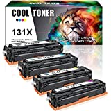 Cool Toner Compatible for HP 131A 131X CF210X CF210A CF211A CF212A CF213A Toner Cartridge for HP Laserjet Pro 200 Color M251nw M251n MFP M276nw M276n Canon ImageCLASS MF8280Cw Printer Toner - 4 Pack