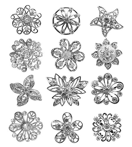 L'VOW 12px Gold Silver Crystal Button Brooches Scarves Buckle Floriated Brooch Collar Pin Rhinestone Corsage Bouquet Kit (Silver D)