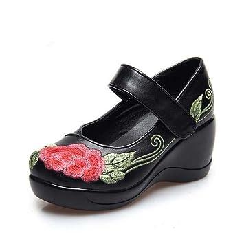 Bombas bordados chinos Tacones Wedge Mary Janes Zapatos Casual Mujer Retro Handmake cuero genuino Redonda dedo