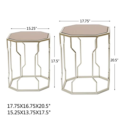 Adeco Decorative Nesting Octagon Side End Accent Table Plant Stand Chair for Bedroom, Living Room and Patio, Set of 2