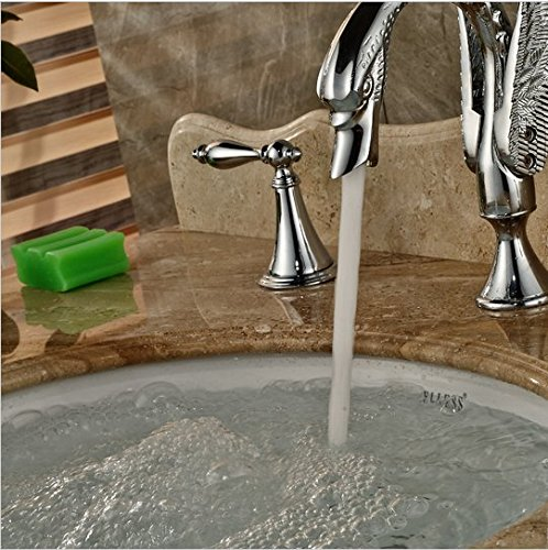 GOWE Polished Chrome Bathroom Swan Faucet Dual Handles Vanity Sink Mixer Tap 2 Handle 3