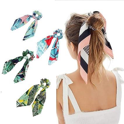 technologies sophistiquées ramasser plus près de Comely Aurora 4 Pcs Cheveux Chouchous Satin Soie Foulard ...