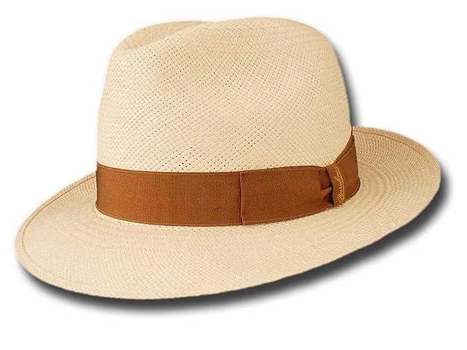 Cappello Borsalino 140228 Fedora Panama Quito 6 cm Bianco panna nastro  nocciola  Amazon.it  Abbigliamento c3378e71280e