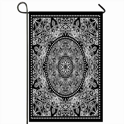 Ahawoso Outdoor Garden Flag 12x18 Inches Shawl Border Scarf Black Bandana Pattern Paisley Neckwear Plant Artistic Bandanna Bright Classic Colour Design Seasonal Double Sides House Yard Sign