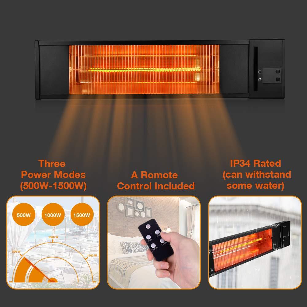 Trustech Patio Heater Indoor Outdoor Infrared For Three Hour Timer Restaurant Garage Bedroom Courtyard