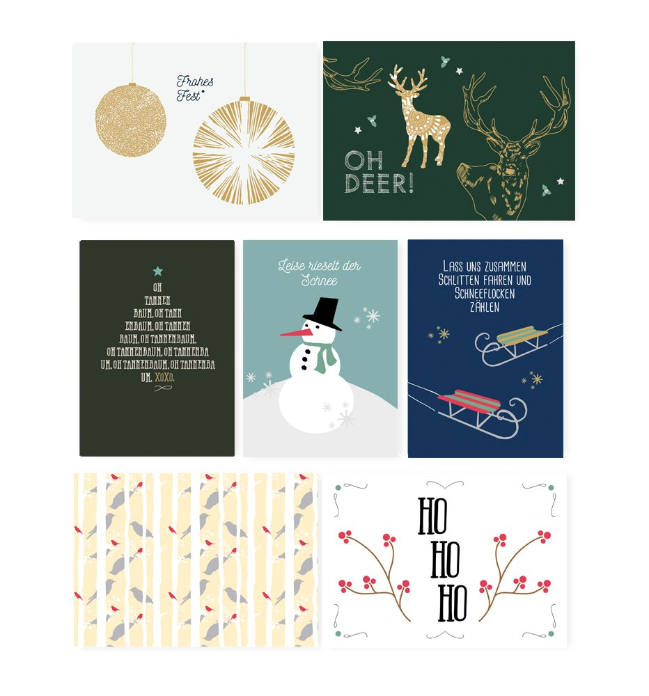 Weihnachtsgrüße Klassisch.Kartenglück Weihnachten Klassisch Postkarten Set Monbijou Amazon