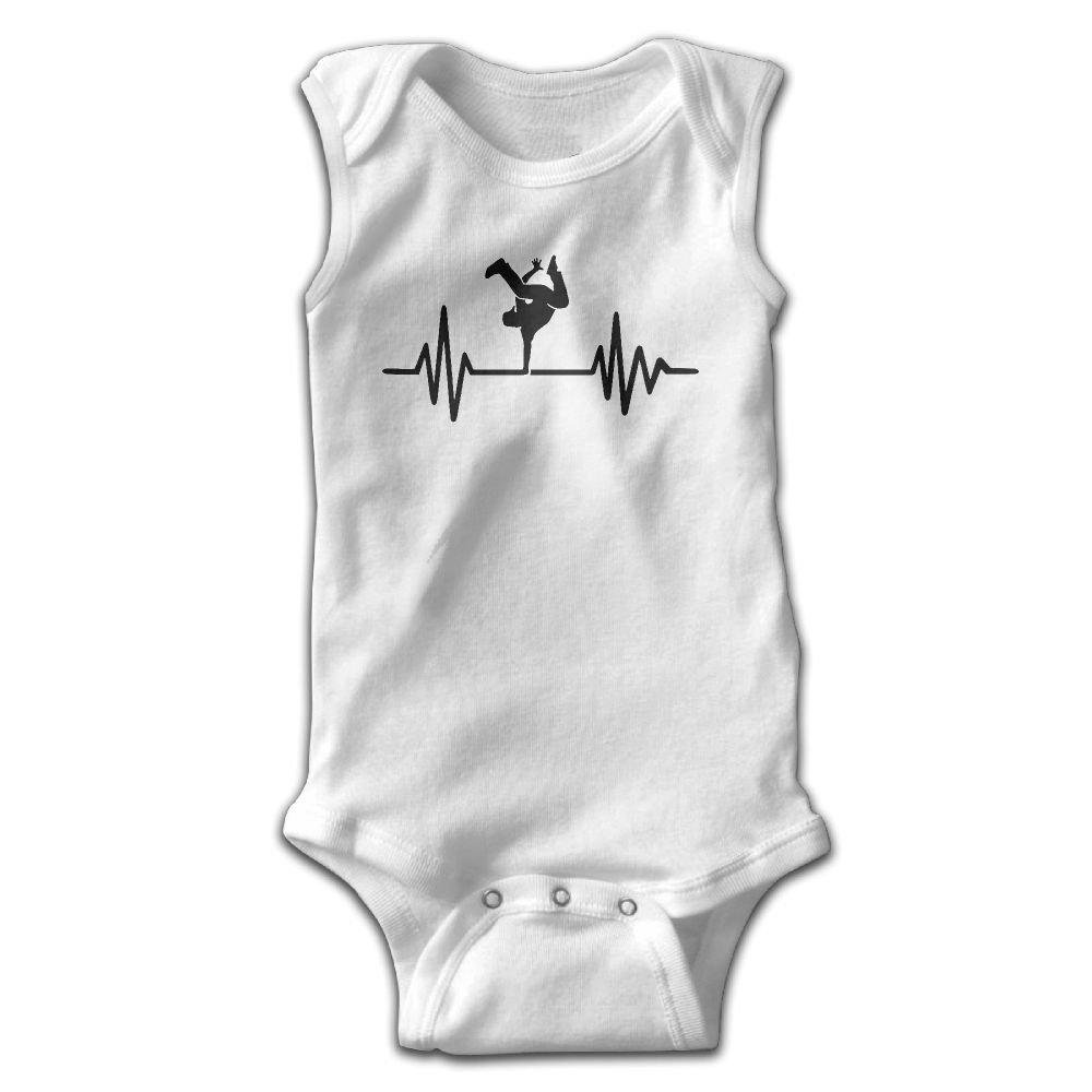 braeccesuit Heartbeat Hip Hop Infant Baby Boys Girls Crawling Clothes Sleeveless Onesie Romper Jumpsuit White