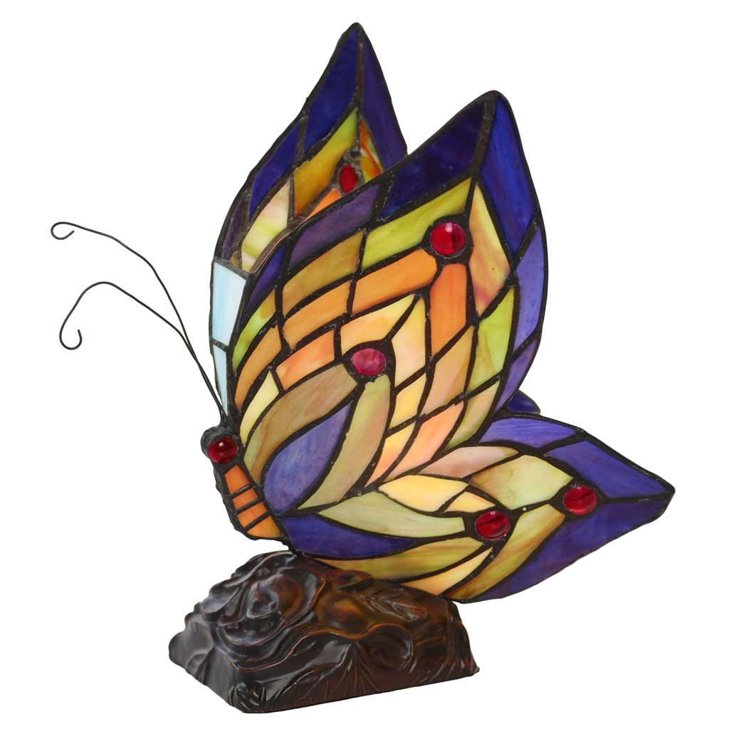 9.5'' H Stained Glass Butterfly Wings Accent Lamp