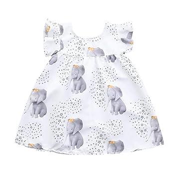 Amazon.com  Kids Baby Girls Dress Stars Elephant Print Dresses Clothing  Outfits (age 12-18month aefefabb474b