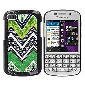 FECELL CITY // Duro Aluminio Pegatina PC Caso decorativo Funda Carcasa de Protección para BlackBerry Q10 // Lines M W Green