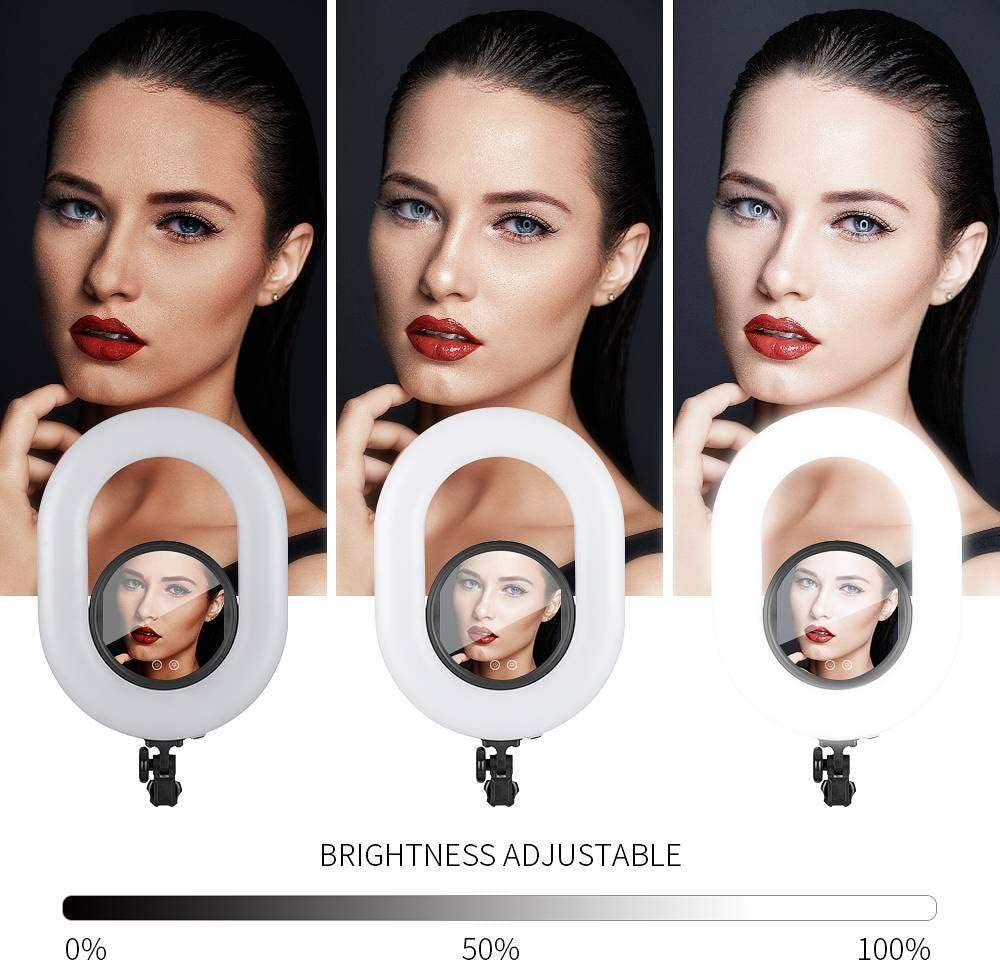 FRITHJILL Ring Light 20 inch U-Shaped Touch Screen with Remote Control Plus Beauty Mirror Ring Light with Stand for Vlogging Selfie-Portrait Makeup Video Photography Shooting