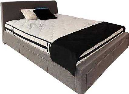 Meubletmoi Pack cama doble tejido gris + colchón – Cama 4 cajones – 140 x 190 Calidad Prestige con cabecero, patas de madera y somier integrados – ...