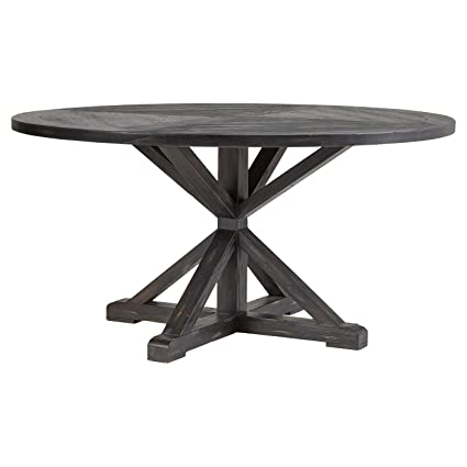 a00f17912c56 Image Unavailable. Image not available for. Color  Sierra Round Farmhouse  Pedestal Base Wood Dining Table - Inspire Q
