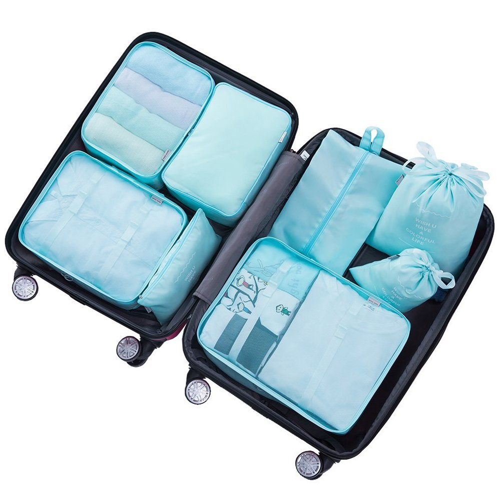 f029dd0cb278 8 Set Suitcase Packing Cubes-Travel Luggage Packing Organizers Cube Luggage  Compression Pouches Waterproof Lightweight -5 Colour Options(Blue)