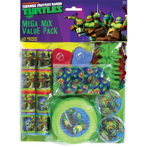 [Amscan Awesome TMNT Mega Mix Birthday Party Favors Value Pack (48 Piece), 11.3 x 8.3