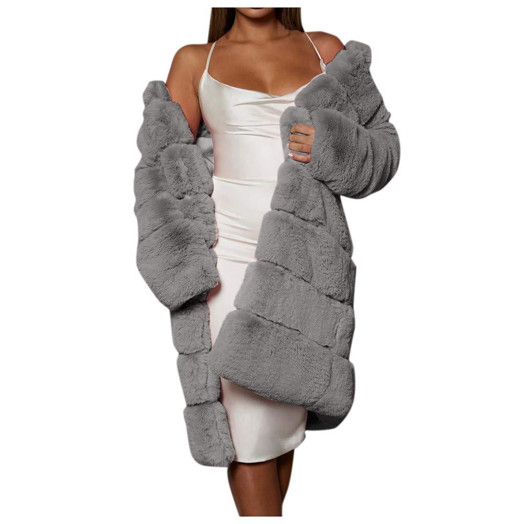 Dainzuy Womens Winter Faux Fur Coat Warm Thick Plus Size Warm Furry Jacket Luxury Long Sleeve Casual Outwear Overcoat Gray by Dainzuy Women Winter Clothes