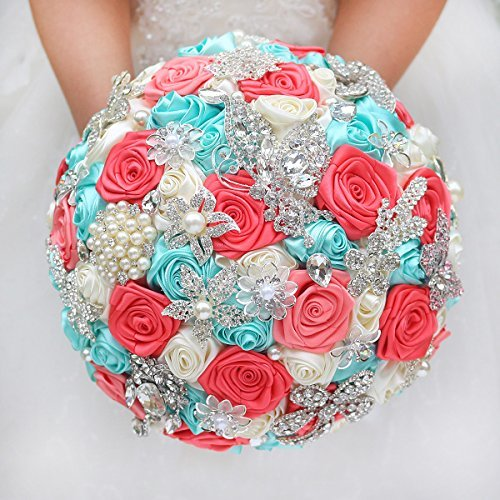 IFFO DIY brooch bouquet Silk Bride Bridal Wedding Bouquet Bridesmaid mint turquoise & Coral ivory Ribbon roses Customizable bouquets - Coral Silk Ribbon
