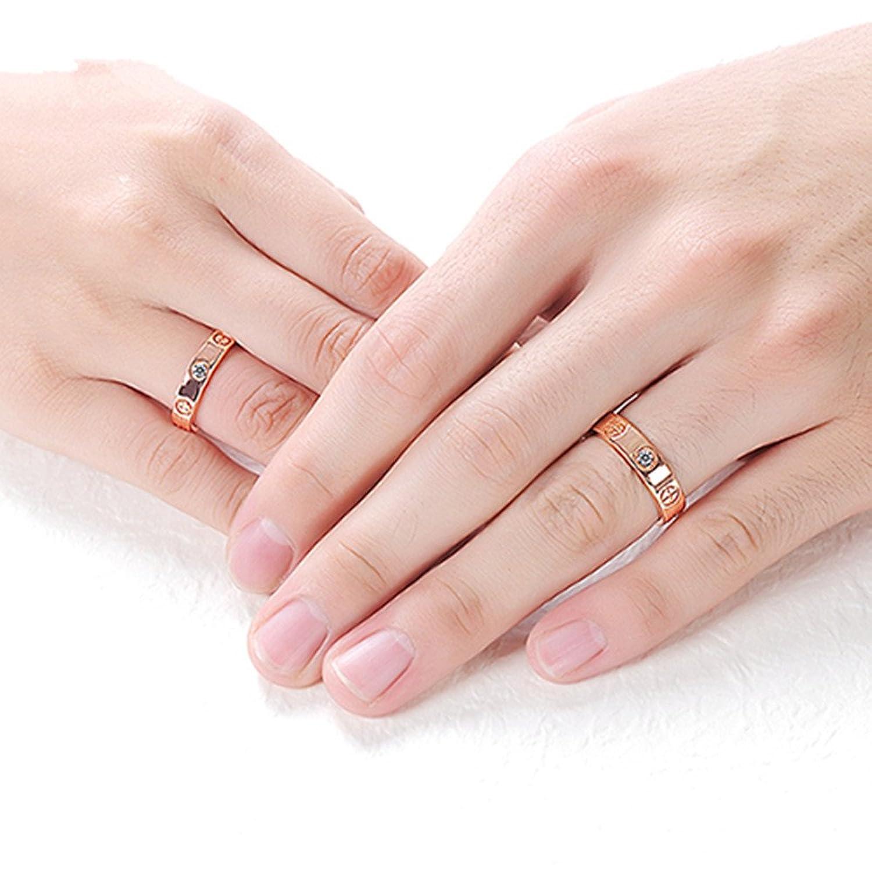 MultiBey Luxury 18K Rose Gold Love Rings Stainless Steel Cross with ...