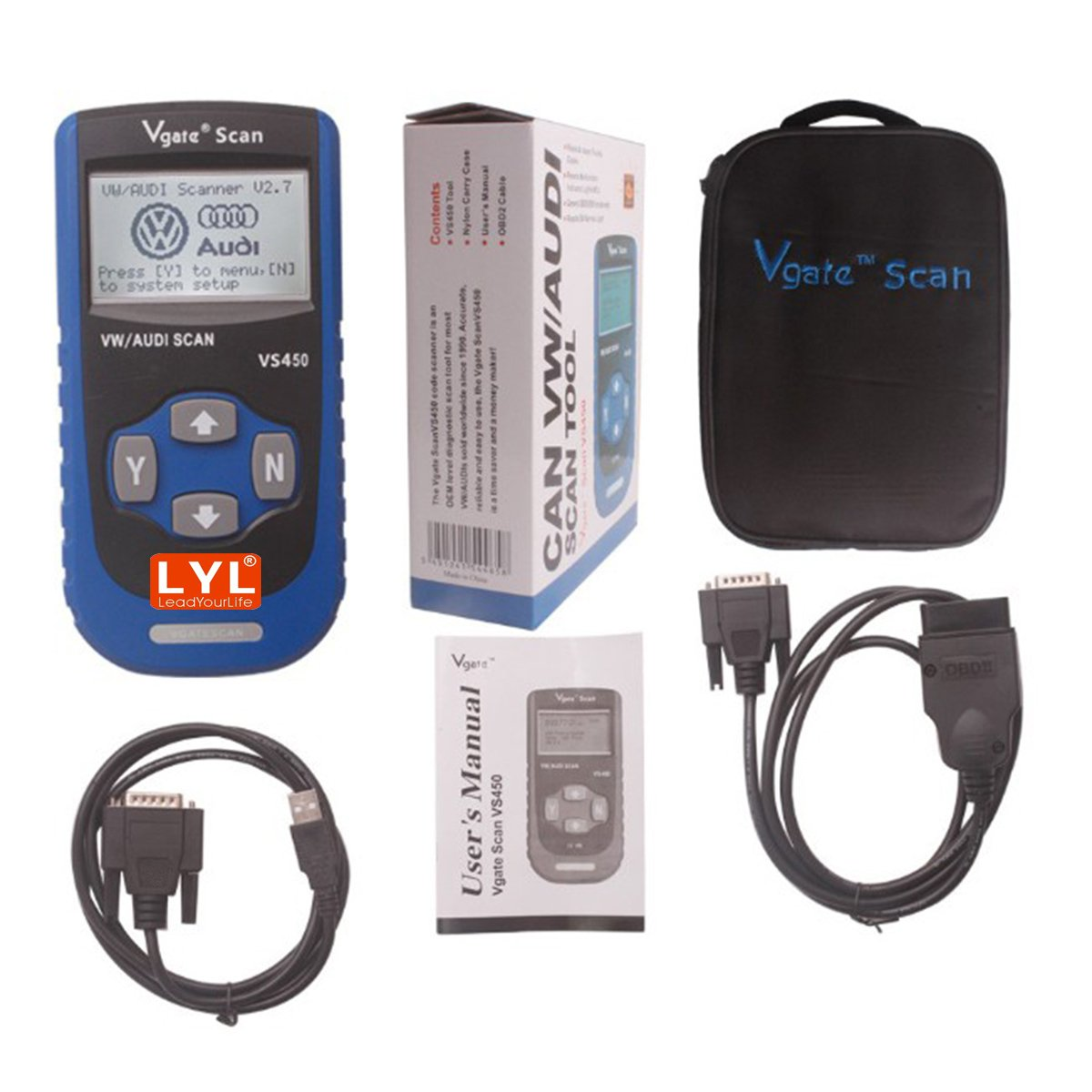 LYL® VS450 VAG Code Reader Diagnostic Scanner Com Reset Airbag ABS For Audi VW LeadYourLife