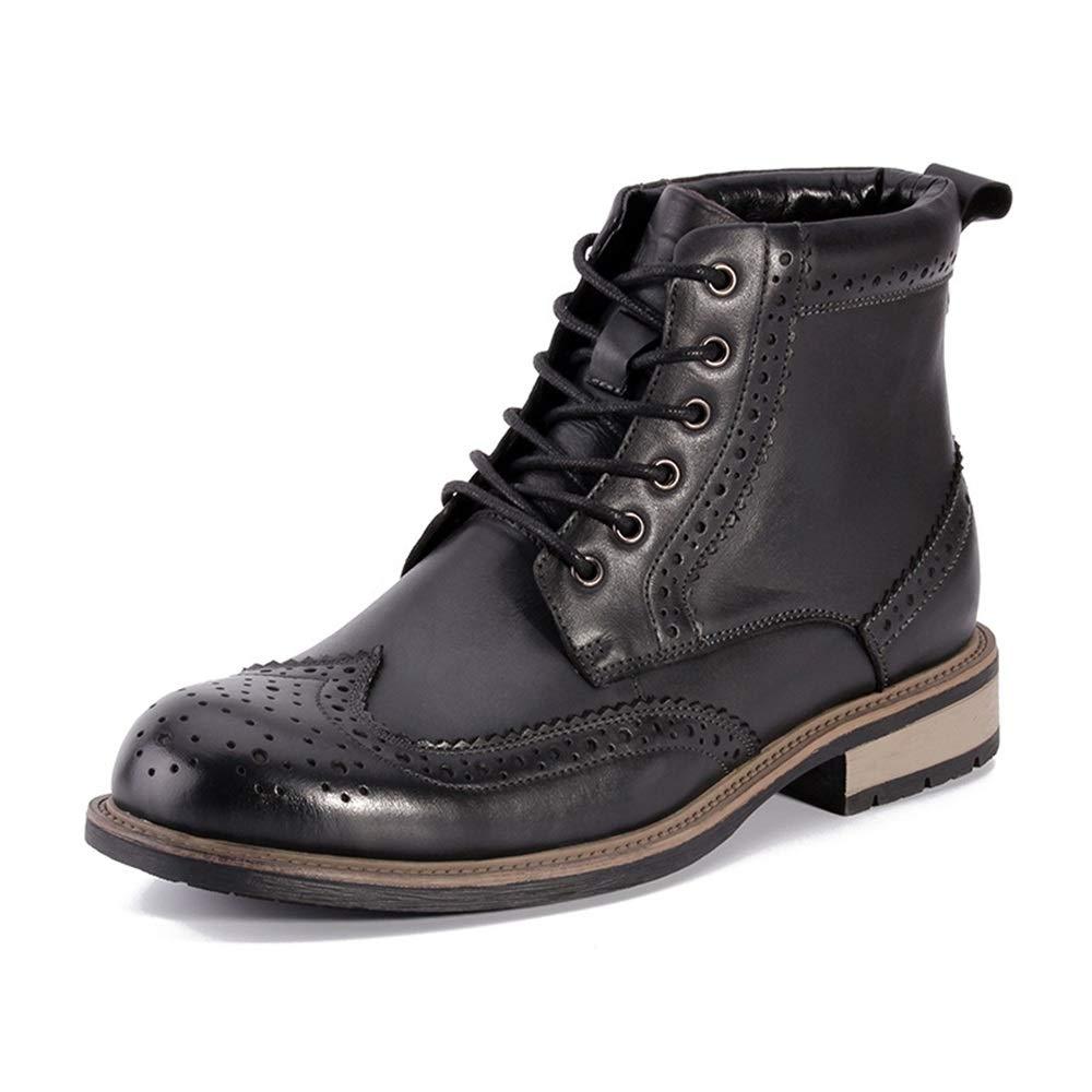 Qiusa Brogues Stiefel für Herren Soft Sole Echtes Leder Atmungsaktive Stiefel Strapazierfähige Stiefel Atmungsaktive (Farbe   Schwarz, Größe   EU 44) 288c16