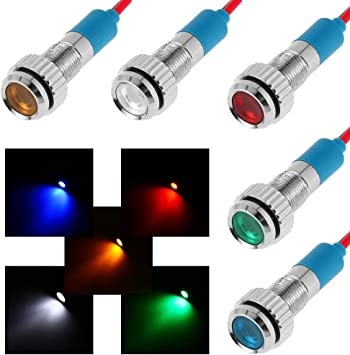 FICBOX 10pcs 6mm 1//4 LED Metal Indicator Light 12V Waterproof Signal Lamp Pilot Dash Directional Car Truck Boat with Wire