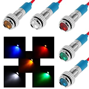 "FICBOX 5pcs 6mm 1/4"" LED Metal Indicator light 12V Waterproof Signal Lamp Pilot Dash Directional Car Truck Boat with wire"