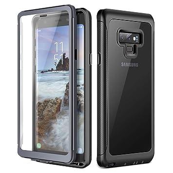 Prologfer Funda para Samsung Galaxy Note 9 360 Grados Transparente Carcasa Resistente con Protector de Pantalla incorporada Prueba de Golpes y ...