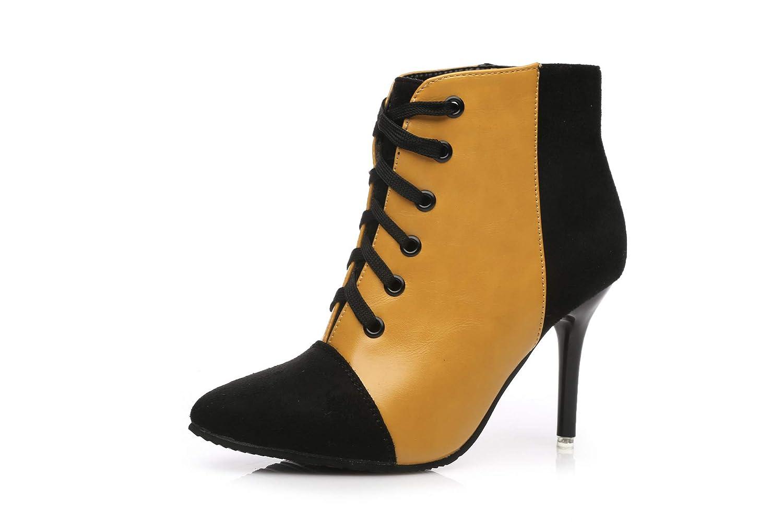 HOESCZS Stiefel Damen Woherren Joker Martin Stiefel Mode Farbabstimmung Spitze Stiefel Frauen Herbst Und Winter Spitze Mit High Heels Mode