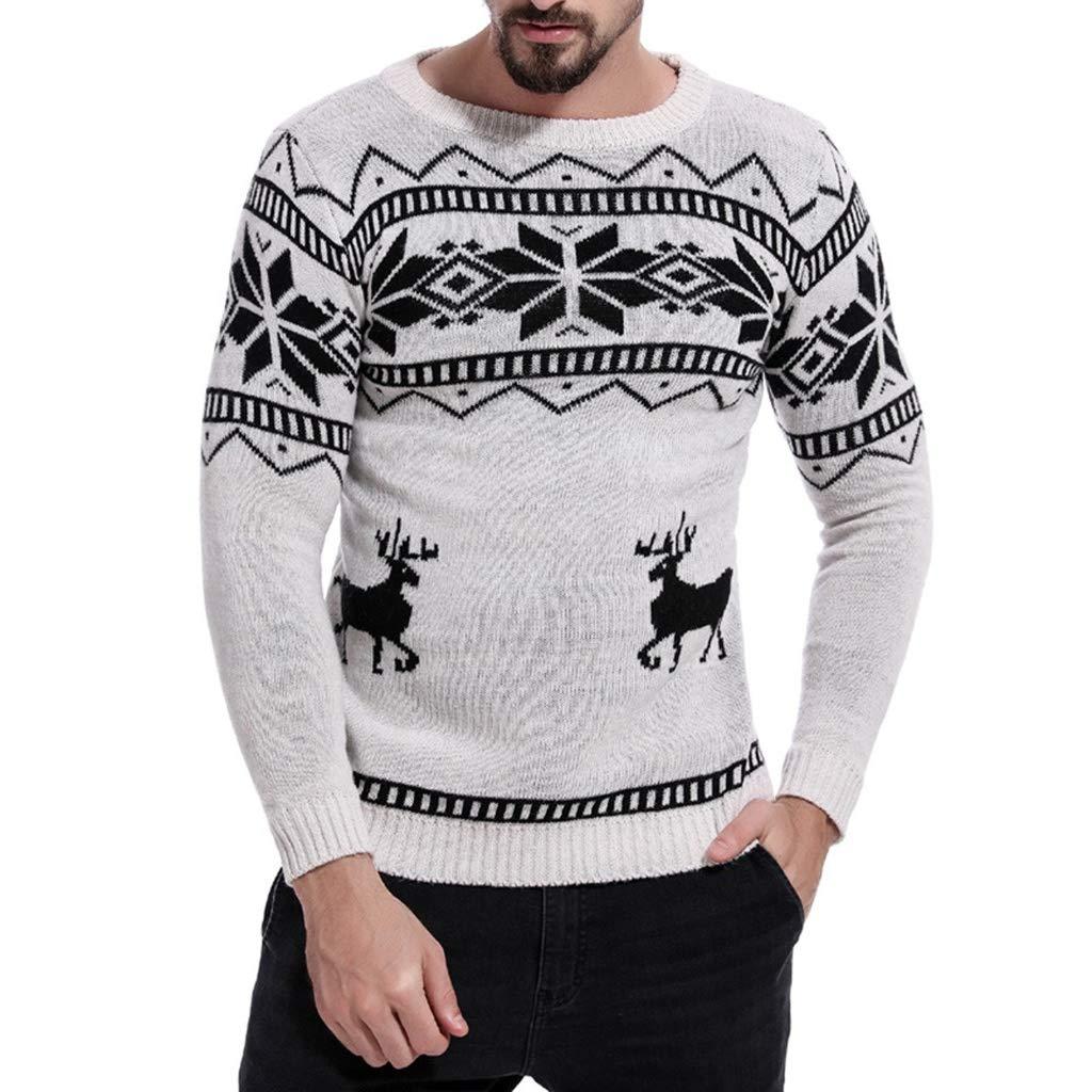 Uomo Maglione Addensare T-Shirt Esplosione di Natale A Manica Lunga, Inverno Camicetta Pullover Slim Maglieria Outwear, Manica Lunga T-Shirt Qinsling