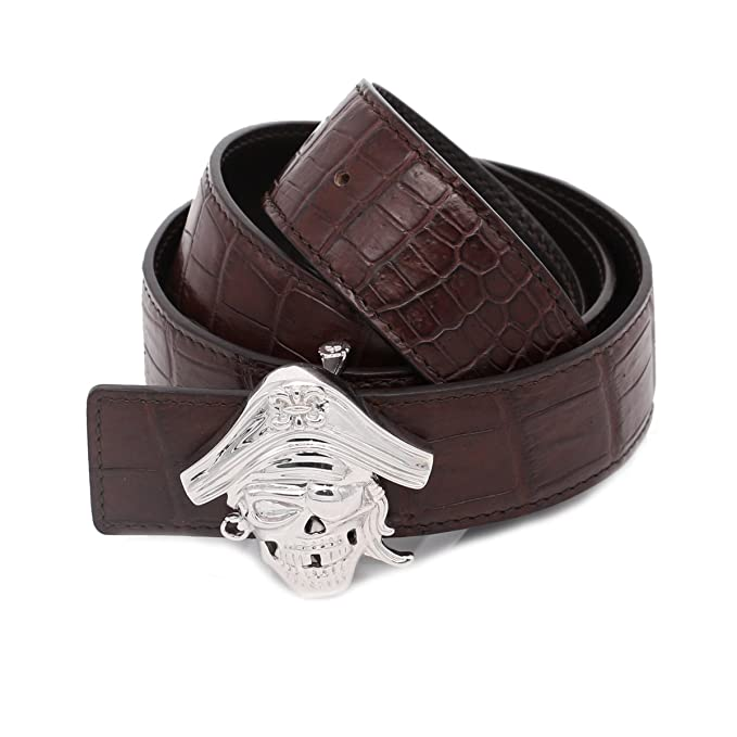 Deluxe Adult Costumes - Men's 925 silver pirate skull buckle crocodile belly leather belt