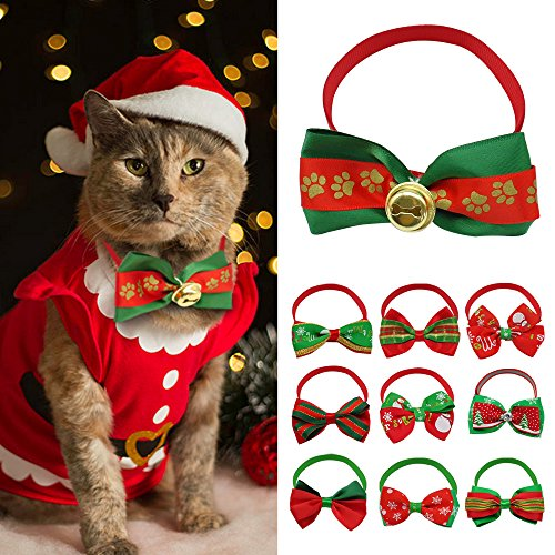 [Didog 10pcs Cat Dog Bowties Collar for Christmas Holiday] (Dog Outfits For Christmas)