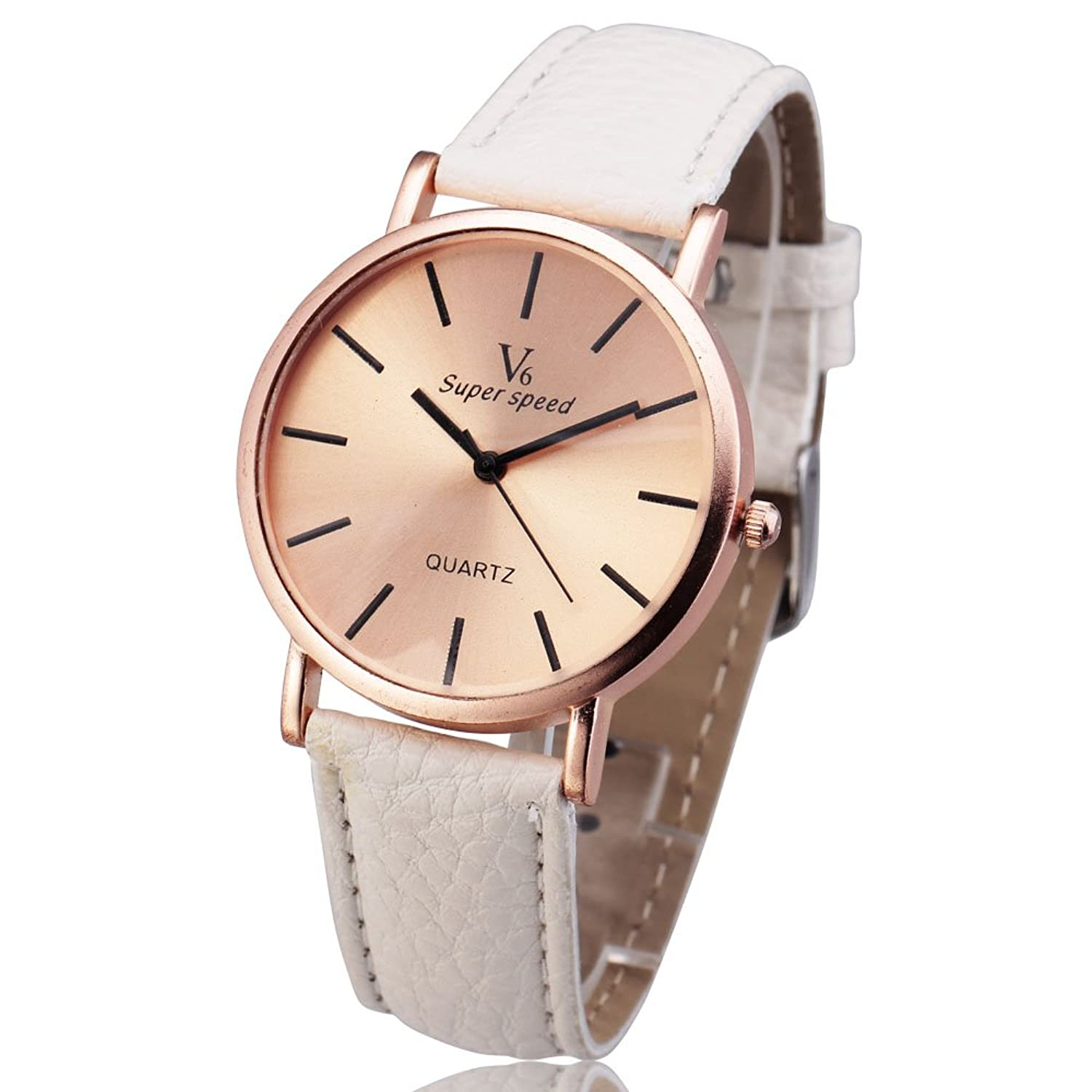 Amazon.com: New Arrive Men Women Unisex Watches V6 Quartz Round Dial Fashion Leather Female Wristwatch watch hot mujer relojes: Watches