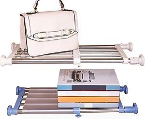 Hershii Closet Tension Shelf & Rod Expandable Metal Storage Rack Adjustable Organizer DIY Divider Separator for Cabinet Wardrobe Cupboard Kitchen Bathroom 2 Colors - Ivory & Blue