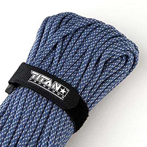 TITAN MIL-SPEC 550 Paracord / Parachute Cord, 100 Feet, Digital Blue | Authentic MIL-C-5040, Type III, 7 Strand, 5/32