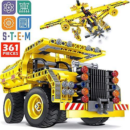 STEM Toy Building Sets for Boys 8-12 - 361 Pcs Construction Engineering Kit Builds Dump Truck or Airplane (2in1) STEM Building Toy Set for Kids - Ages 6 7 8 9 10 11 12 Years Old, Boy Toys Gift