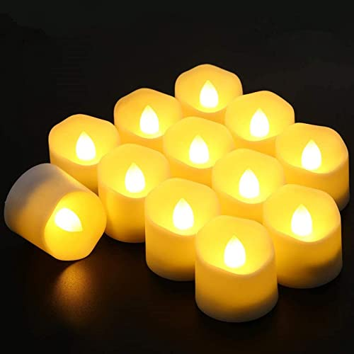 CXMYKE 12PACK 1.37 H LED Tea Lights with Auto Timer – Lasts 3X Longer – Battery Operated Flameless Tealight Candles with Warm White Flickering Flame – Ideal for Halloween Wedding Party Decor