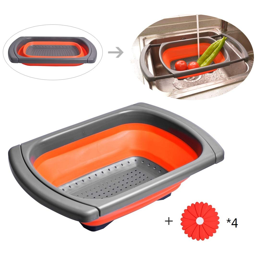 Ouchan Collapsible Colander Over the Sink Colander with Extendable Handles - Collapsible Strainer with Free Bonus Clip on Silicone Strainer for Kitchen (1, Grey & Orange)
