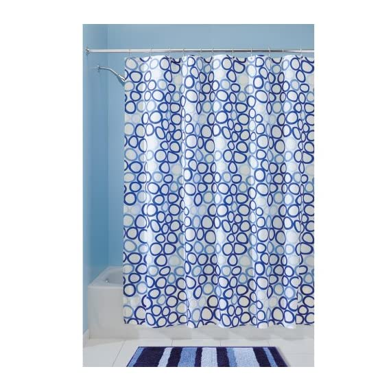 """iDesign Stripes Microfiber Polyester Bath Mat, Non-Slip Shower Accent Rug for Master, Guest, and Kids' Bathroom, 21"""" x 34"""", Surf Blue - HIGH-QUALITY FABRIC: Made of 100% microfiber polyester, this non-slip striped blue shower rug adds classic and chic style to your master bathroom, kitchen, kid's bathroom, guest bathroom, office, craft room, and other places in your home STURDY: Stays in place throughout the day with a non-skid, no-slip backing EASY MAINTENANCE: This bathroom rug is machine washable and hangs dry for easy cleaning - bathroom-linens, bathroom, bath-mats - 61hXY0U5PkL. SS570  -"""
