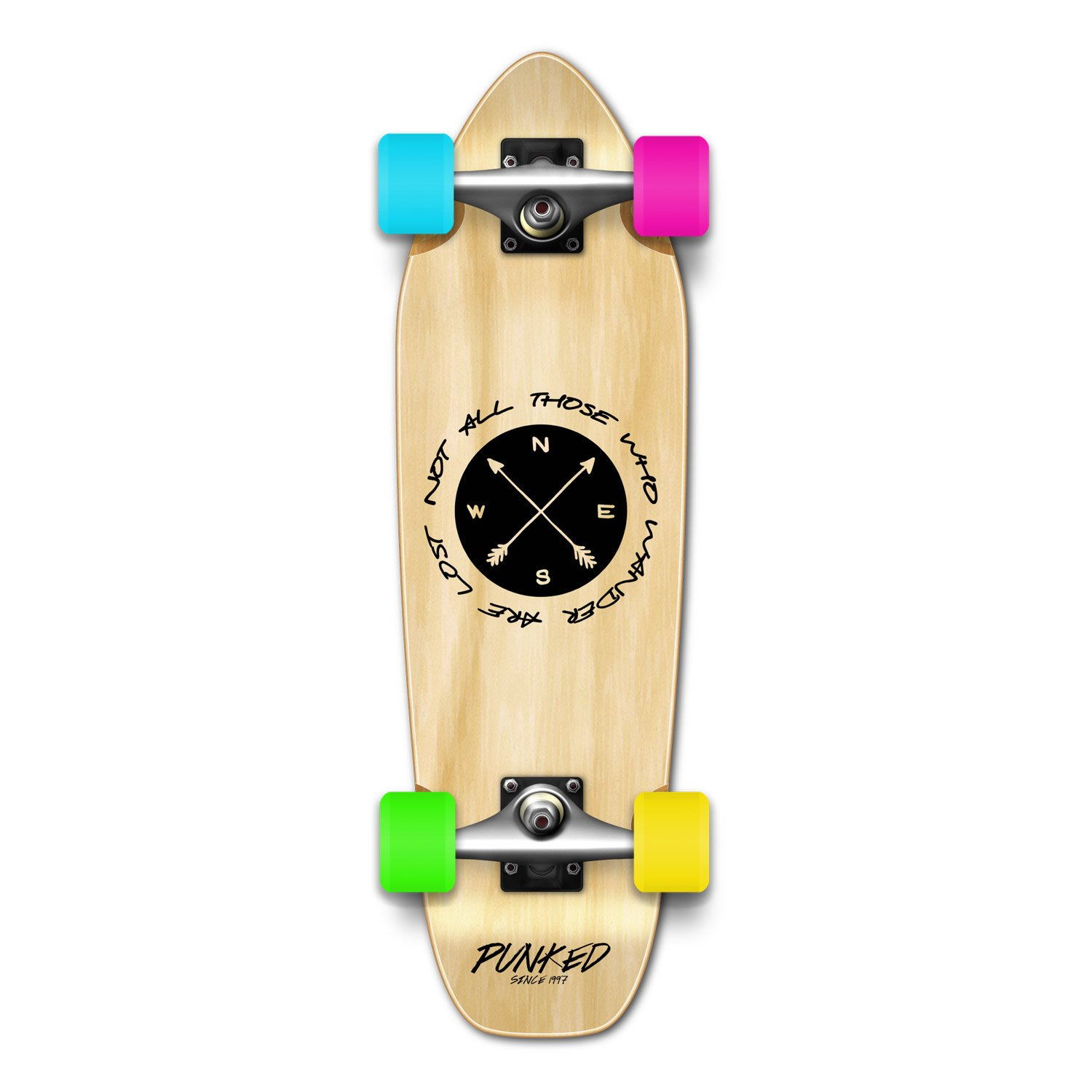 Yocaher Geometric, Wander, Candy Series of Standard Skateboards and Cruisers (Complete-09 - Mini - The Wander Natural, Mini Cruiser)