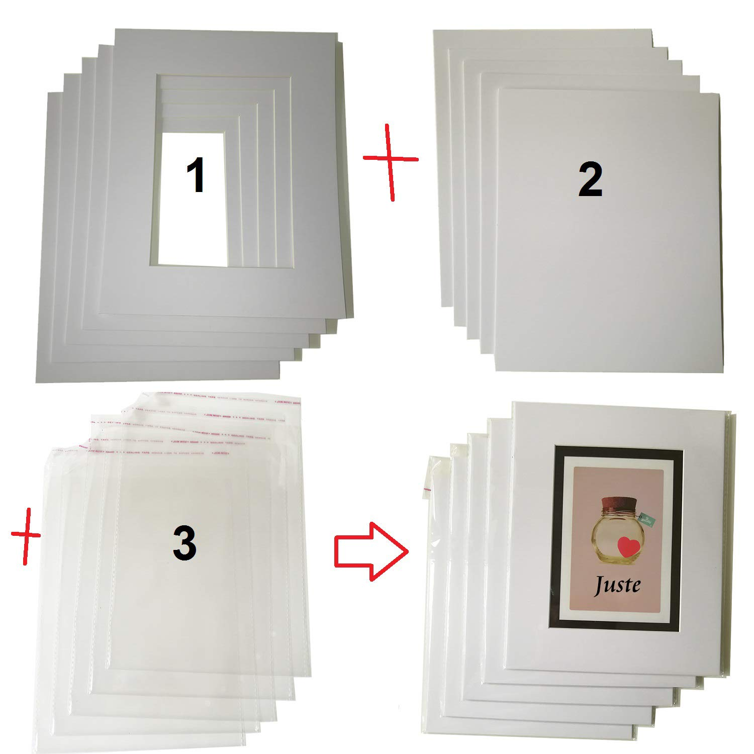 8x10 Picture Frame Mats Mattes for 5x7 Photos with White Core Bevel Cut Picture mats Pack of 10