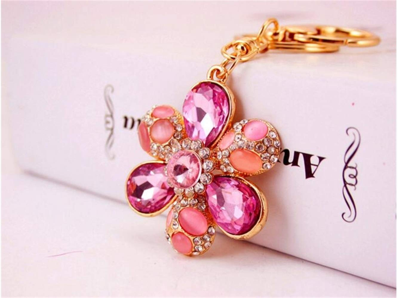 Gelaiken Novelty Diamond Opal Six-Petal Flower Keyring Crystal Keychain Charms Bag Purse Phone Pendant for Women Girls_Pink