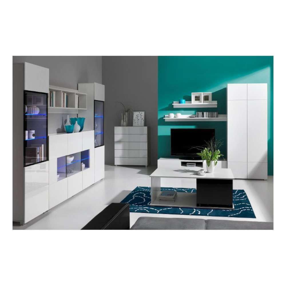 JUSThome Gordia Wohnzimmerset Wohnzimmermöbel Wohnwand I Weiß / Weiß Matt