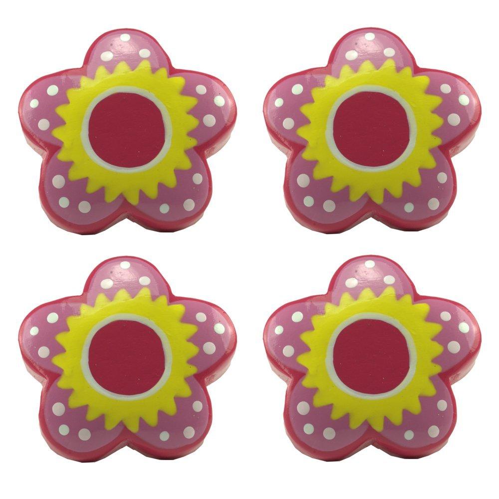 L'agape Set de Pomos para Muebles, Cajones, Flor Infantil, Madera,, 5.20x5.20x6.60 cm, 4 Unidades L' Agape POFLEUR X4