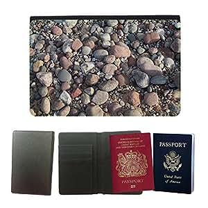 Passeport Voyage Couverture Protector // M00159095 Rocas Textura Modelo del agua de mar // Universal passport leather cover